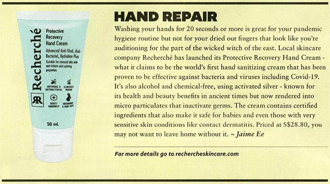 Protective Recovery Hand Cream Media Coverage by The Business Times 1